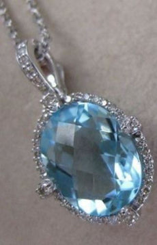 OVAL 3.68CTW DIAMOND BLUE TOPAZ 14K WHITE GOLD HANGING HALO PENDANT CHAIN #19842