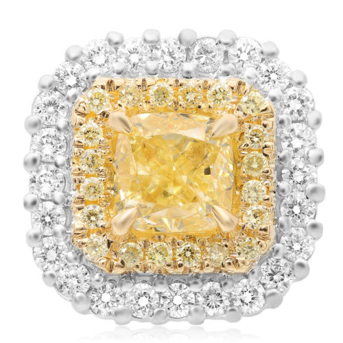GIA LARGE 2.94CT WHITE & FANCY YELLOW DIAMOND 18KT TWO TONE GOLD STUD EARRINGS