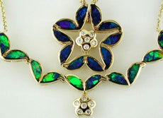 ESTATE LARGE .09CT DIAMOND & OPAL 14KT YELLOW GOLD FLOWER STAR PENDANT NECKLACE
