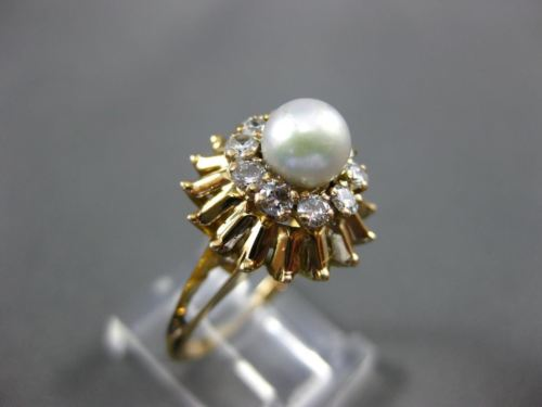 ANTIQUE .40CT DIAMOND & AAA SOUTH SEA PEARL 14K YELLOW GOLD 3D FLOWER RING 25866