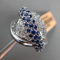 ESTATE WIDE 1.65CT DIAMOND & SAPPHIRE 14K WHITE GOLD PAVE HEART CRISS CROSS RING