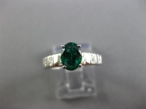ESTATE 1.02CT DIAMOND & AAA EMERALD 14KT WHITE GOLD OVAL ENGAGEMENT RING #25511
