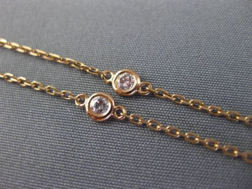 LONG .35CT DIAMOND 14K ROSE GOLD 3D SEVEN STONE BY THE YARD BEZEL ANKEL BRACELET
