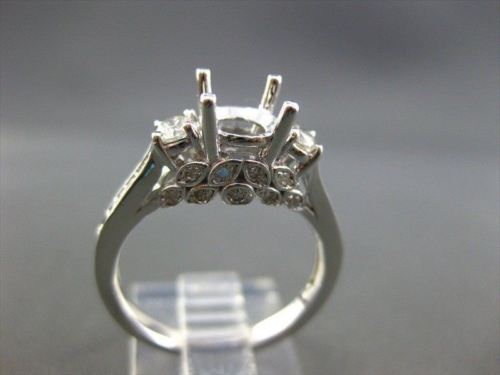 ESTATE WIDE .51CT ROUND DIAMOND 14KT WHITE GOLD 3D FLORAL SEMI MOUNT RING #22187