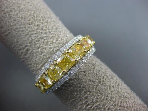 WIDE 2.83CT WHITE & FANCY YELLOW DIAMOND 18K 2 TONE GOLD HALO ANNIVERSARY RING