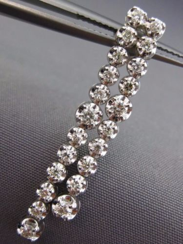 ESTATE 1.07CT ROUND DIAMOND 14K WHITE GOLD DOUBLE STRAND TENNIS HANGING EARRINGS