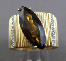 ESTATE LARGE 4.35CT DIAMOND & SMOKEY TOPAZ 14K TWO TONE GOLD COCKTAIL RING 23883