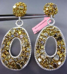 MASSIVE 23.49CT WHITE & MULTI COLOR DIAMOND 18K 2TONE GOLD OVAL HANGING EARRINGS