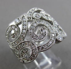 ESTATE LARGE 1.20CT DIAMOND 14KT WHITE GOLD 3D FILIGREE MILGRAIN COCKTAIL RING