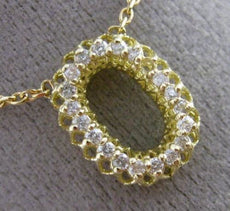 ESTATE .25CT DIAMOND 14KT YELLOW GOLD 3D CLASSIC HALO OVAL MESH ITALIAN NECKLACE