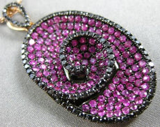 LARGE 3.72CT BLACK DIAMOND & AAA PINK SAPPHIRE 18KT ROSE GOLD OVAL SWIRL PENDANT