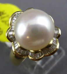 ESTATE LARGE .50CT DIAMOND & AAA SOUTH SEA PEARL 14KT YELLOW GOLD 3D FLOWER RING