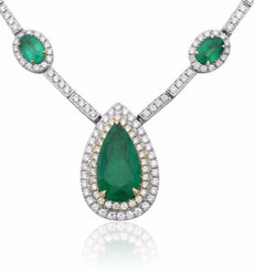 ESTATE CT DIAMOND & AAA EMERALD 18KT 2 TONE GOLD TEAR DROP TENNIS NECKLACE