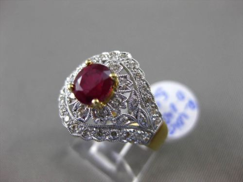 ANTIQUE 1.44CT DIAMOND & AAA RUBY 18KT TWO TONE GOLD 3D FILIGREE ENGAGEMENT RING
