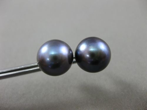 ESTATE AAA TAHITIAN GREY PEARL 14KT YELLOW GOLD 10mm FLORAL STUD EARRINGS #25130