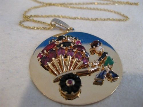 ANTIQUE 10CT DIAMOND GEM 14K GOLD PEDDLER MEDALLION CIRCLE PENDANT + CHAIN #1971