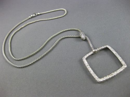 "ESTATE 1.09CT DIAMOND 14KT WHITE GOLD 3D OPEN SQUARE LARIAT NECKLACE 16.5"" #6600"