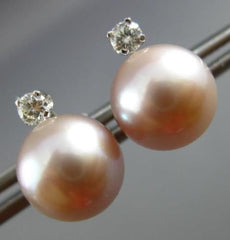 ESTATE .12CT DIAMOND 14KT WHITE GOLD AAA SOUTH SEA PEARL STUD EARRINGS 25463