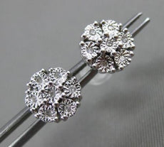 ESTATE .05CT DIAMOND 14KT WHITE GOLD CLUSTER MILGRAIN FLOWER SNOWFLAKE EARRINGS