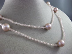 ESTATE LARGE & LONG AAA PINK PEARLS & EXTRA FACET ROSE QUARTZ TIN TOP NECKLACE