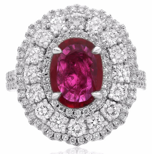 GIA CERTIFIED LARGE 3.76CT DIAMOND & AAA RUBY 18K WHITE GOLD 3D OVAL FLOWER RING