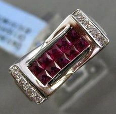 ESTATE WIDE 1.60CT DIAMOND & AAA RUBY 18KT WHITE GOLD 3D RECTANGULAR MENS RING