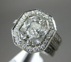 1.75CT MULTI CUT DIAMOND 18KT WHITE GOLD 3D OCTAGON WEDDING ENGAGEMENT RING SET