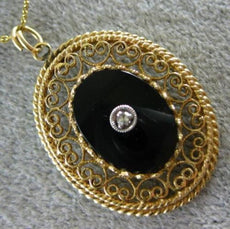 ANTIQUE LARGE OLD MINE DIAMOND & ONYX 14KT TWO TONE GOLD HEART FILIGREE PENDANT