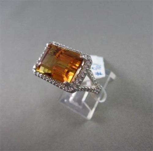 ESTATE WIDE 9.67CTW AAA CITRINE & DIAMOND 14KT WHITE GOLD RING