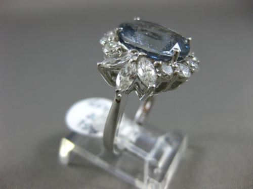 LARGE AGL CERTIFIED 7.79CT DIAMOND & AAA SAPPHIRE 14K WHITE GOLD ENGAGEMENT RING
