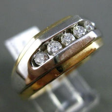 ESTATE WIDE .40CT DIAMOND 14KT WHITE & YELLOW GOLD 3D 5 STONE CHANNEL MENS RING