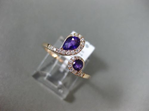 .68CT DIAMOND & AAA ROUND & PEAR SHAPE AMETHYST 14KT ROSE GOLD CRISS CROSS RING