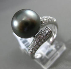 ESTATE LARGE .42CT DIAMOND 18K WHITE GOLD AAA TAHITIAN PEARL 3D CRISS CROSS RING