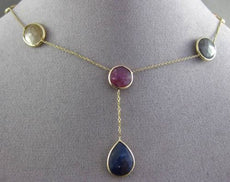 ANTIQUE 20.0CT EXTRA FACET MULTI COLOR SAPPHIRE 14KT YELLOW GOLD LARIAT NECKLACE