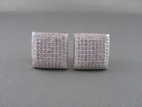 ANTIQUE 14KT WIDE SQUARE MICRO PAVE 5CT DIAMOND WHITE GOLD EARRINGS