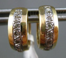 ESTATE WIDE .22CT DIAMOND 14KT WHITE & YELLOW GOLD CLASSIC HUGGIE EARRINGS 4mm