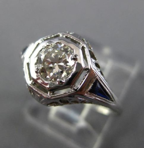 ANTIQUE WIDE .70CT DIAMOND & AAA SAPPHIRE 18KT WHITE GOLD ENGAGEMENT RING 26036