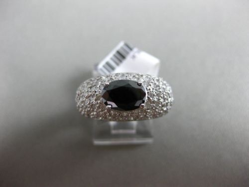 ESTATE WIDE 2.75CT WHITE & OVAL BLACK DIAMOND 14KT WHITE GOLD 3D ENGAGEMENT RING