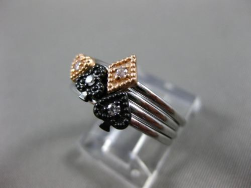 .05CT DIAMOND 14KT WHITE BLACK & ROSE GOLD 3D HEART FLOWER MULTI STACKABLE RING