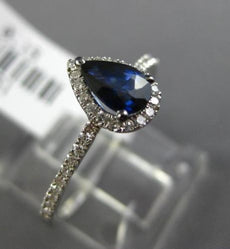 ESTATE .66CT DIAMOND & AAA SAPPHIRE 14K WHITE GOLD PEAR SHAPE 3D ENGAGEMENT RING