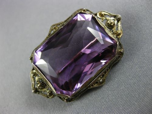 ANTIQUE 20.0CT AAA AMETHYST 14KT WHITE GOLD 3D VICTORIAN FILIGREE PIN BROOCH
