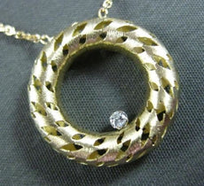 ESTATE LONG DIAMOND 14KT YELLOW GOLD 3D CIRCLE OF LIFE FILIGREE ETOILE NECKLACE
