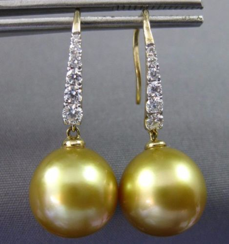 LARGE .30CT DIAMOND & GOLDEN SOUTH SEA PEARL 14KT YELLOW GOLD HANGING EARRINGS