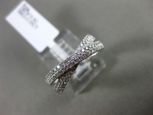 ESTATE WIDE .55CT DIAMOND 18KT WHITE GOLD 3D MULTI ROW CRISS CROSS X LOVE RING