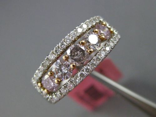 ESTATE WIDE 1.25CT DIAMOND 18K 2 TONE GOLD 5 STONE HALO WEDDING ANNIVERSARY RING