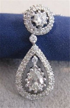 ANTIQUE 1.12CT DIAMOND PEAR 14K WHITE GOLD HANGING HALO DROP PENDANT CHAIN #1067