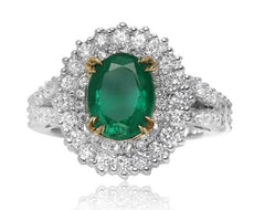 GIA CERTIFIED 3.20CT DIAMOND & AAA EMERALD 18KT 2 TONE GOLD HALO ENGAGEMENT RING