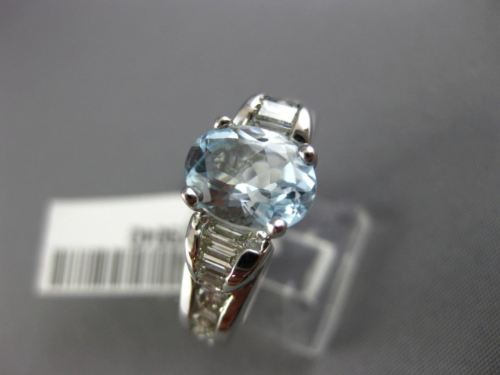 WIDE 2.35CT DIAMOND & AQUAMARINE 14KT WHITE GOLD OVAL SOLITAIRE ENGAGEMENT RING