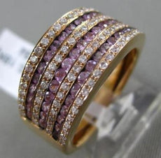 ESTATE WIDE 1.25CT DIAMOND & PINK SAPPHIRE 18K ROSE GOLD 7 ROW ANNIVERSARY RING