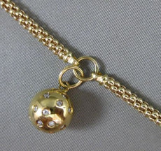 ESTATE WIDE & LONG .48CT DIAMOND 14KT YELLOW GOLD 3D GLOBE MESH CHARM BRACELET